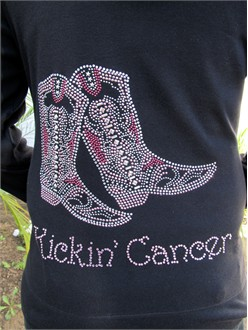 Kickin' Cancer Boots Rhinestone Hoodie