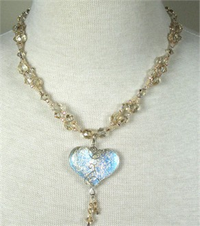 Karen Nan Champagne Crystal Heart Necklace