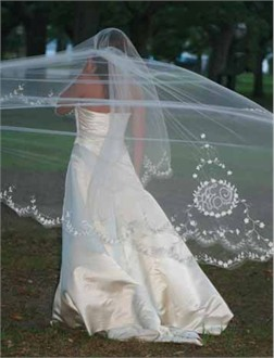 Kristina Eaton Monogrammed Bridal Veil