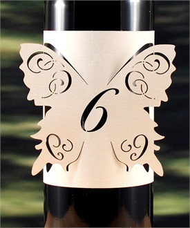 Butterfly Laser Cut Table Number Bottle Wrap - in 6 Colors!