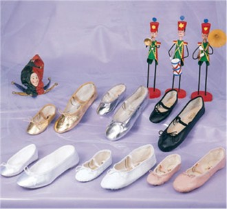 Ladies' Leather Bridal Ballet Slippers in White, Pink, Gold, Silver or Black