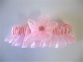 Light Pink Garter with Pink Flower