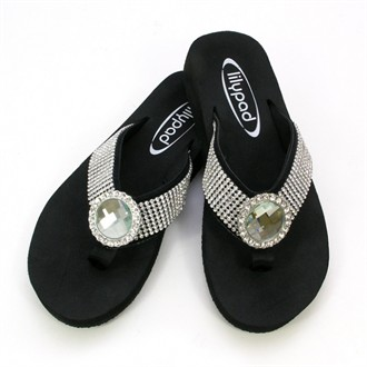 Lilypad Flip Flops with Round Faceted Crystal - Low Heel Black