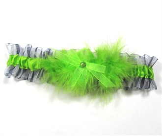 Lime Prom Garter with Zebra Trim and Feather