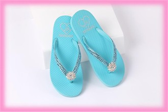 Crystal Flip Flops - Lady Lanell's Land and Sea Aqua Flip Flops with Aqua Crystals and Toe Piece