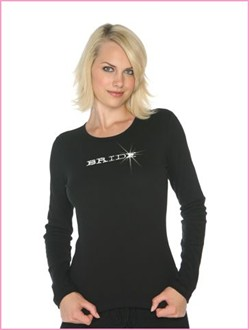 Long Sleeve Bridal Party T-Shirt with Nailheads or Crystals