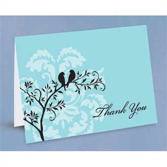 Perched Birds Thank You Notes - Set of 50