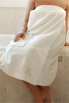 Mr. and Mrs. Bath Wrap in Ivory - Personalized Bath Wrap