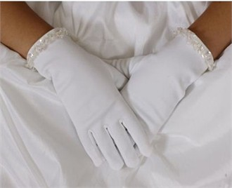 Matte Satin Beaded Girls Gloves
