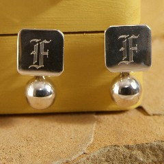Monogrammed Sterling Silver Square Earrings
