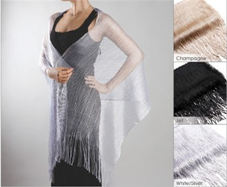 Bridal Shawl or Evening Shawl in Metallic Ribbed Weave