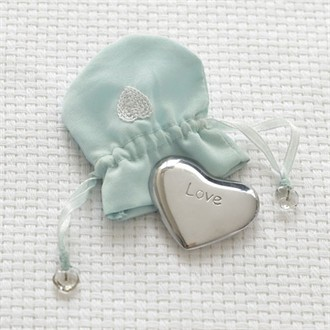 Mindy Weiss Lucky In Love Heart Charm in Embroidered Pouch