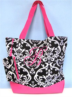 Personalized Damask Tote Bag with Monogram, Name, or Initial