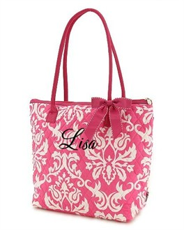 Personalized Damask Tote Bag  in Pink and White