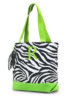 Monogrammed Zebra Tote Bag - Lime Zebra Personalized Tote Bag