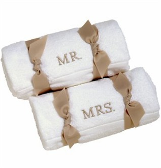 Couples embroidered white towel set personalized beach for Mr and mrs spa