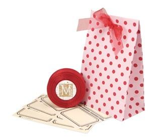 Pink and Red Polka Dot Favor Bags - Set of 12