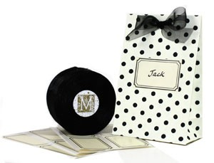 Cream with Black Polka Dot Favor Bags - Set of 12