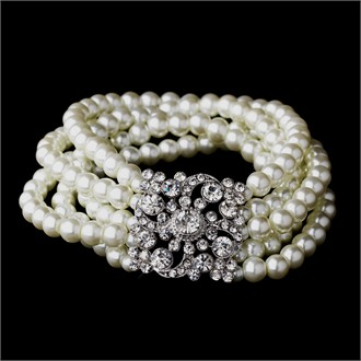 Multi Strand Pearl Bracelet with Crystal Brooch Accent