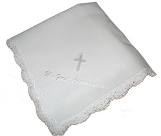 My First Communion Hanky with White Embroidery