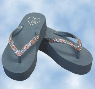 Navy Lady Lanell Platform Flip Flop with Rose and Blue Crystals