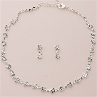 Square Crystal Clusters Silver Necklace and Earring Set