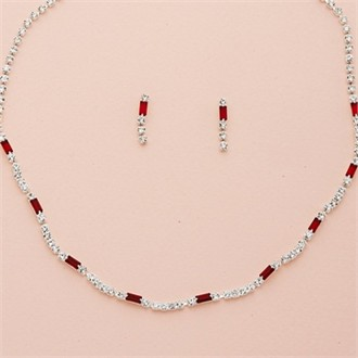 Silver Baguette Crystal Necklace and Earring Set