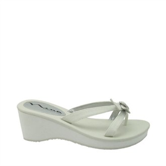 Risdy Wedge in Ivory Satin