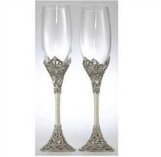 enameled swarovski crystal champagne glasses wedding toasting flutes
