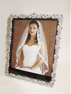 Jeweled Wedding Photo Frame With Pearl And Crystal Embellishment