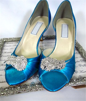 Peacock Feather Brooch Wedding Shoes by Kristie Ann Couture
