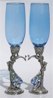 Pewter Peacock Heart Flutes