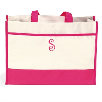 Natural Canvas Initial Monogrammed Tote Bag
