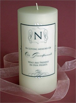 Personalized Memorial Candle with Black Scroll Design