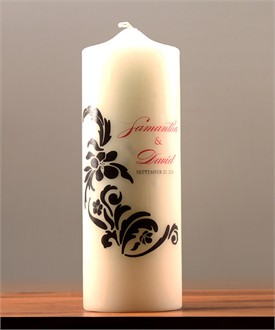 Love Bird Damask Personalized Unity Candle - in 15 Colors!
