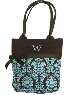 Personalized Tiffany Blue Toile Handbag Tote