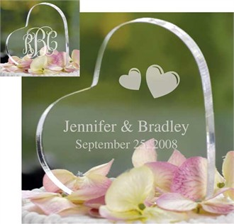 Heart Shape Personalized Wedding Cake Topper