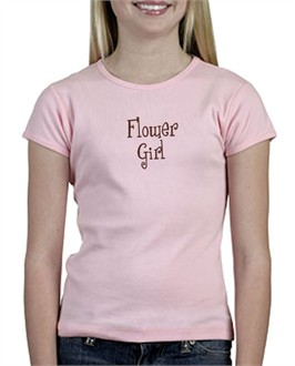 Pink and Brown Embroidered Flower Girl T-Shirt - Junior Bridesmaid T-Shirt