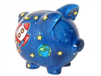 Space and Rocket Ship Piggy Bank - Personalized!