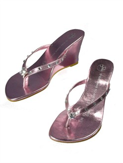 Pink Girl Two Doors Down Wedge Metallic Diamond Ring Sandals