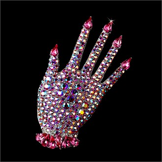 Pink Crystal Brooch - Manicured Hand Brooch