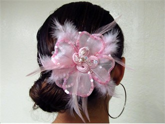 Pink Marabou Feather Hair Pin or Feather Clip