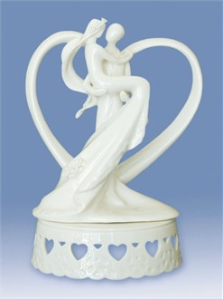 Porcelain Groom Carrying Bride Heart Cake Topper