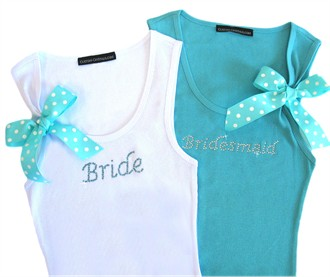 Rhinestone Bride and Bridesmaid Tank Tops with Polka Dot Ribbon