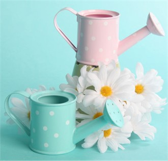 Polka Dot Watering Cans in Pink or Aqua