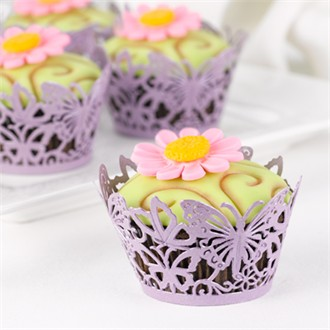 Set of 25 Purple Butterfly Cupcake Wrappers