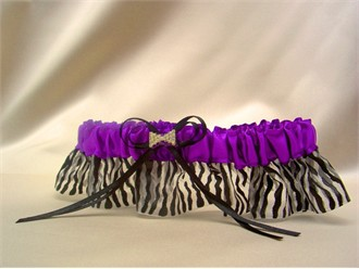 Purple Zebra Prom Garter with Crystal Bow Tie