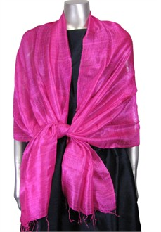 Silk Evening Wrap in Raspberry