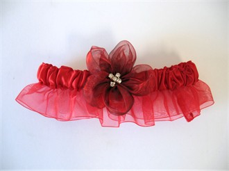 Red Bridal Garter with Cherry Red Flower