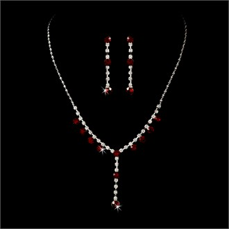 Red and Clear Rhinestone Jewelry Set